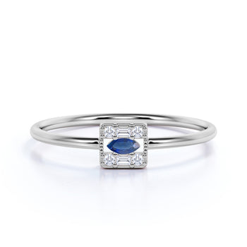Unique Multistone Marquise Cut Sapphire Stacking Ring in White Gold.
