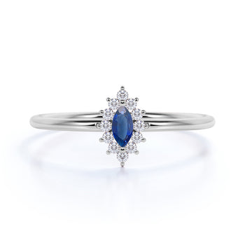 Vintage Halo Set Marquise Cut Sapphire and Diamond Promise Ring