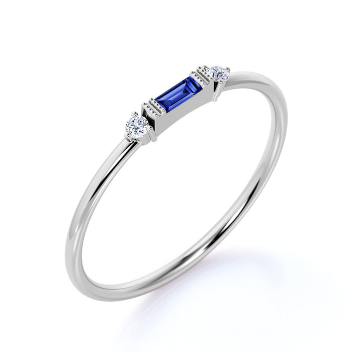 0.35 Carat Sapphire and Diamond Trilogy Stacking Ring in White Gold