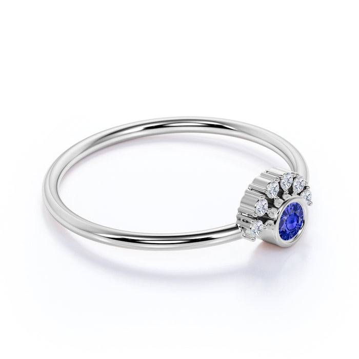 0.37 Carat Bezel Set Sapphire and Diamond Dainty Ring White Gold