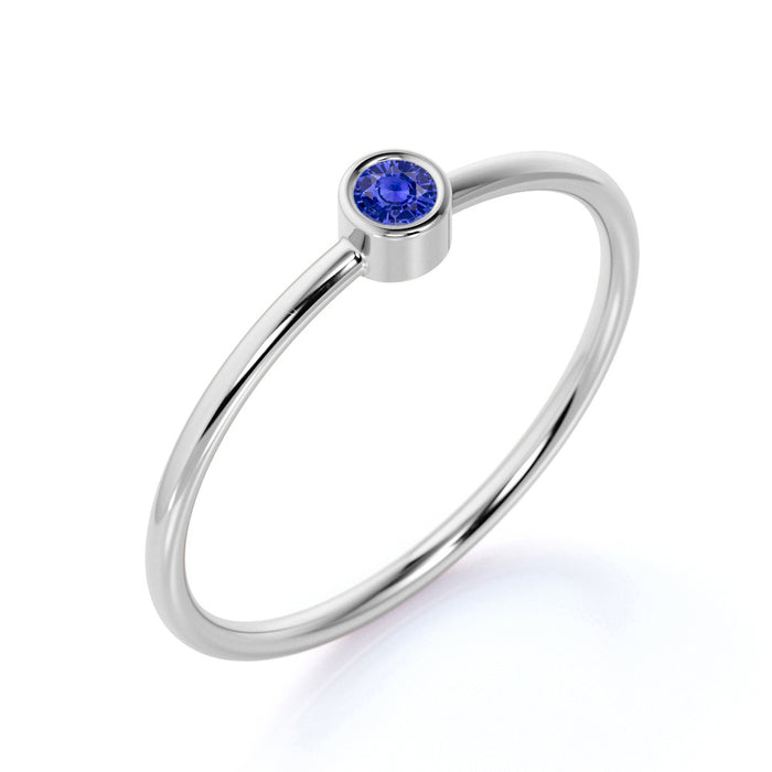 0.25 Carat  Solitaire Bezel Set Round Cut Sapphire Dainty Ring in White Gold