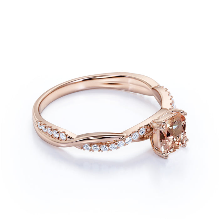 1.50 Carat Cushion Cut Pink Morganite & Diamond October Birthstone Infinity Engagement Ring in Rose Gold