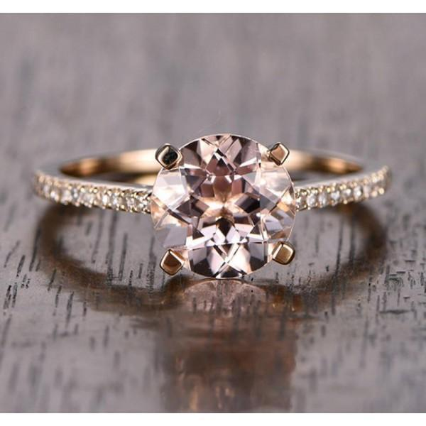 Sale 1.25 Carat Round Cut Pink Morganite and Diamond Engagement Ring