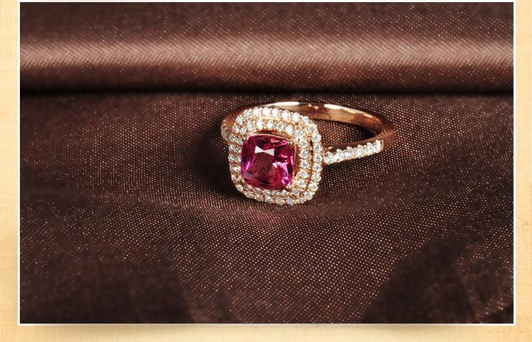 Superb 1.50 carat cushion cut Ruby and Diamond double Halo Engagement Ring