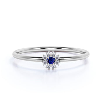Stunning Round Cut Sapphire and Diamond Mini Stacking Ring in Rose Gold