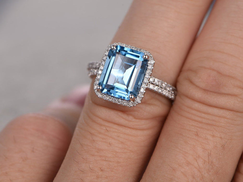 2 Carat Emerald Cut Topaz and Diamond Halo Half Infinity Wedding Ring Set in Rose Gold