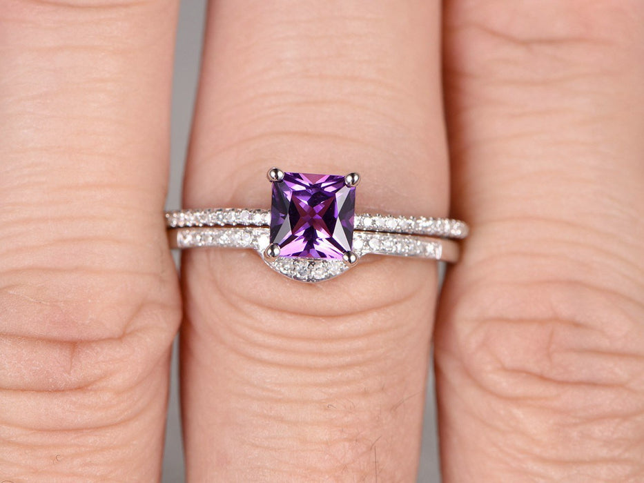 1.50 Carat Princess Cut Amethyst and Diamond Wedding Set Diamond Bridal Ring in White Gold