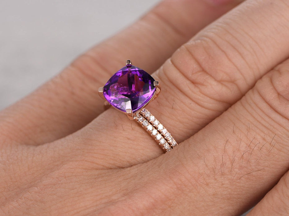 2.50 Carat Cushion Amethyst and Diamond  Art Deco Curved Wedding Set Diamond Bridal Ring in Rose Gold