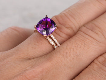 2.50 Carat Cushion Amethyst and Diamond  Art Deco Wedding Set Diamond Bridal Ring in Rose Gold