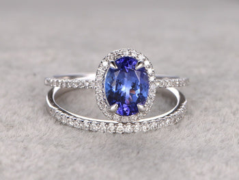 1.50 Carat Oval Cut Tanzanite Diamond Wedding Ring Set in White Gold