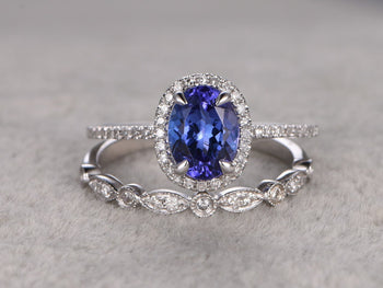 2 Carat Oval Tanzanite Diamond Art Deco Wedding Ring Set in White Gold