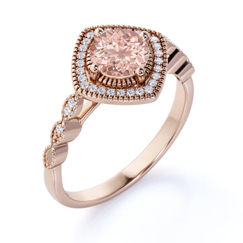 Vintage 1.50 Carat Round Cut Pink Morganite and Diamond Antique Halo Engagement Ring in Rose Gold