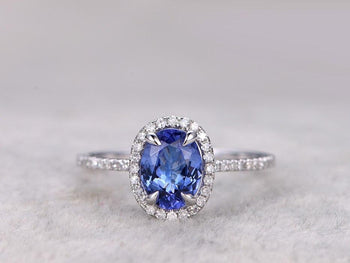 1.50 Carat Oval Tanzanite Diamond Halo Half Infinity Prong Engagement Rings in White Gold