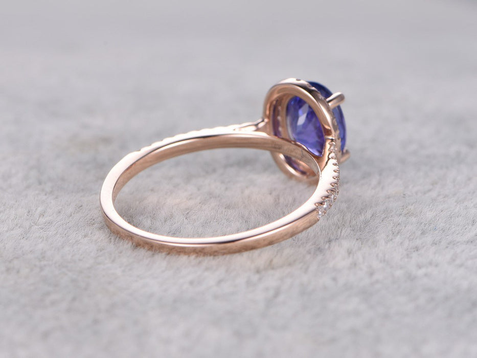 1.50 Carat Oval Tanzanite in Halo Diamond Half Eternity Engagement Rings in Rose Gold