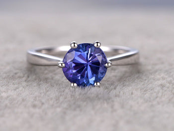 1 Carat Round Cut Tanzanite Solitaire Prong Engagement Ring in White Gold
