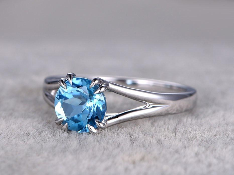 1.25 Carat Round London Blue Topaz Solitaire Engagement Ring in White Gold