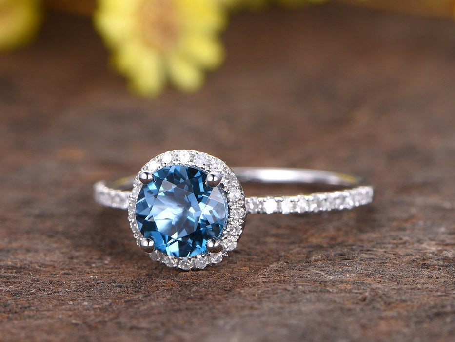 1.50 Carat London Blue Topaz and Diamond Halo Half Infinity Engagement Ring in White Gold