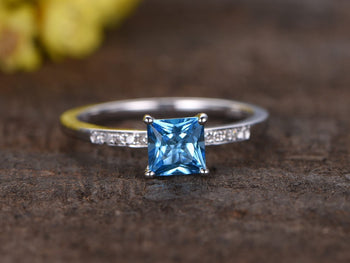 1.25 Carat Princess London Blue Topaz and Diamond Migraine Engagement Ring in White Gold