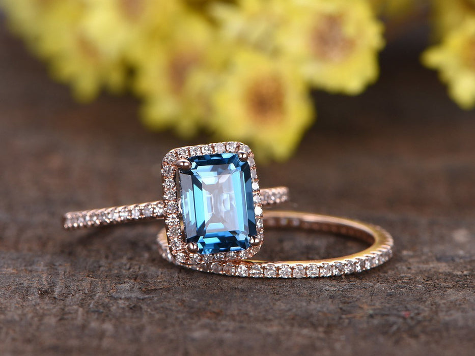 2 Carat Emerald Cut London Blue Topaz and Diamond Wedding Ring Set in Rose Gold