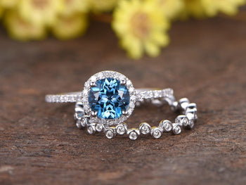 2 Carat Round London Blue Topaz and Diamond Full Eternity Wedding Ring Set in White Gold