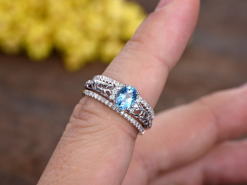 1.50 Carat Oval Sky Topaz and Diamond Trio Ring Set in White Gold
