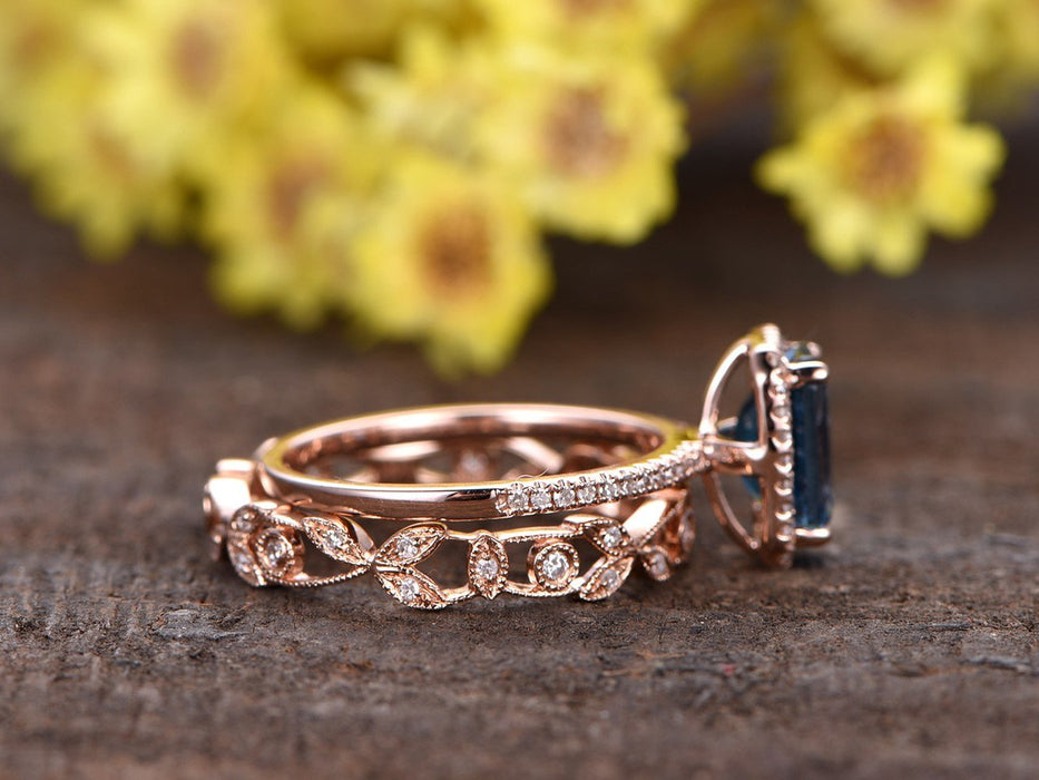 2 Carat Emerald Cut London Blue Topaz and Diamond Antique Flower Wedding Ring Set in Rose Gold