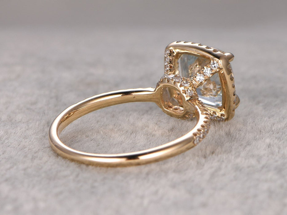 1.50 Carat Cushion White Topaz Halo Half Infinity Engagement Ring in Yellow Gold
