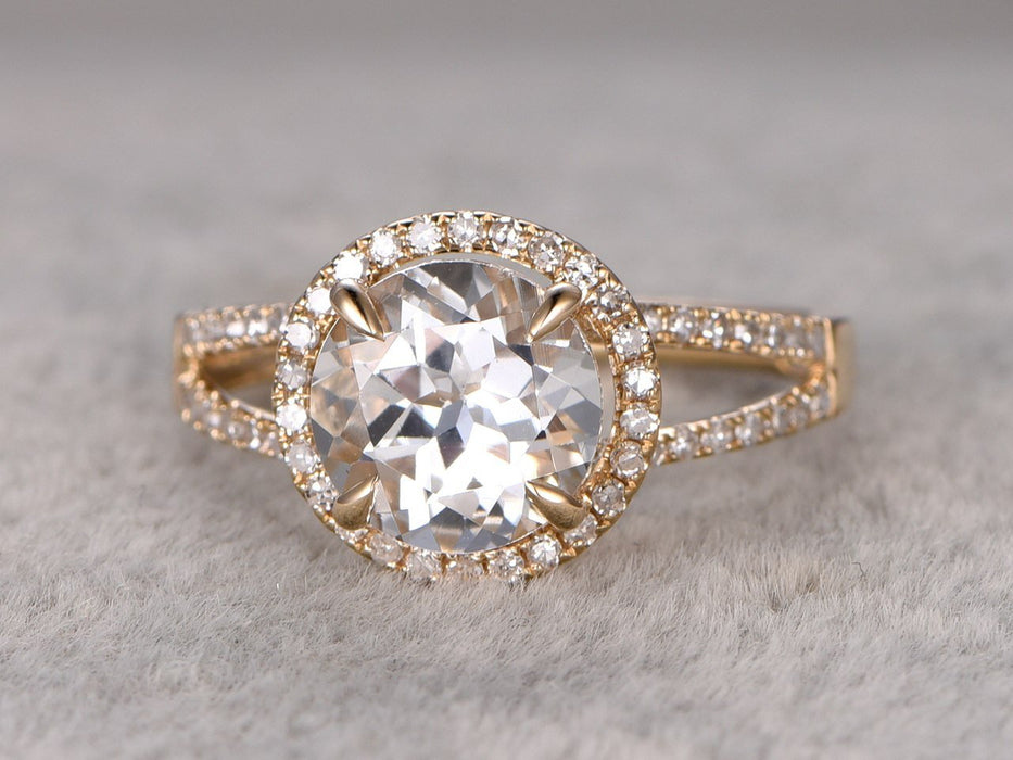 1.50 Carat Round White Topaz and Diamond Halo Split Shank in Yellow Gold