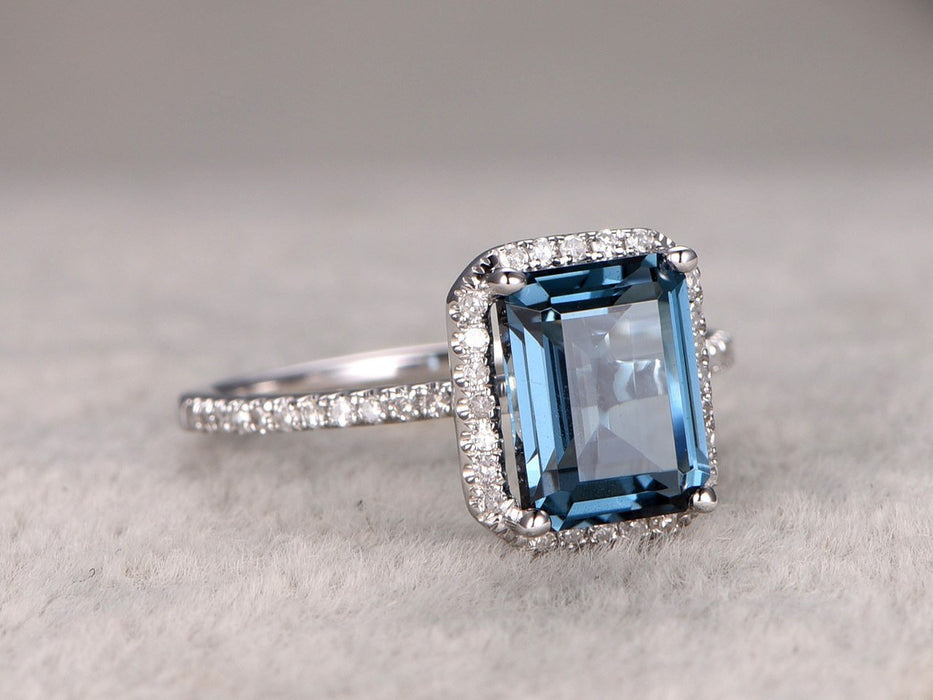1.50 Carat Emerald Cut London Blue Topaz and Diamond Halo Half Infinity Engagement Ring in White Gold