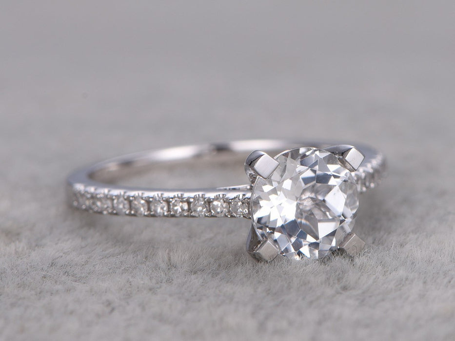 1.25 Carat Round White Topaz and Diamond Engagement Ring in White Gold