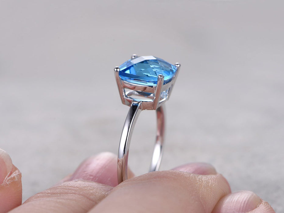 1.25 Carat Cushion Cut London Blue Topaz Solitaire Engagement Ring in White Gold