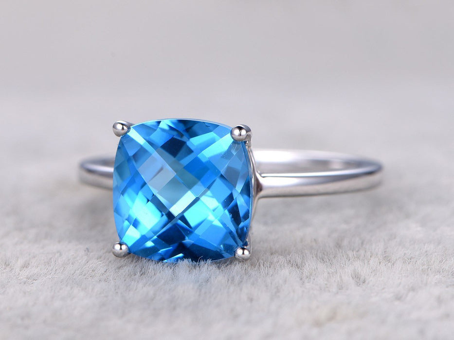 1 25 Carat Cushion Cut London Blue Topaz Solitaire Engagement Ring In White Gold
