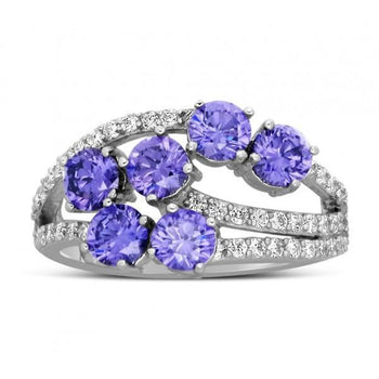 Unique 2 Carat Amethyst and Diamond Ring