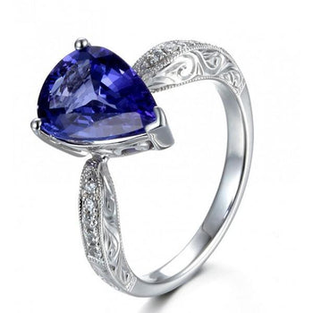 Unique 2 Carat Pear Cut Shape Blue Sapphire and Diamond Antique Engagement Ring