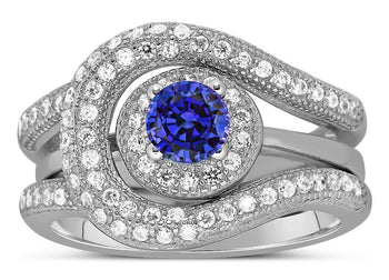 Unique and Luxurious, 2 Carat Round Cut Designer Sapphire and Diamond Wedding Ring Set in White Gold