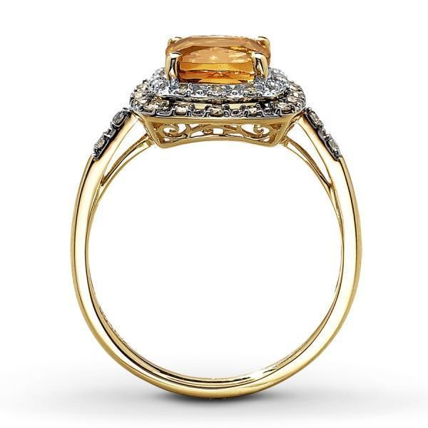 Unique Antique Style 1 Carat Citrine and Diamond Engagement Ring