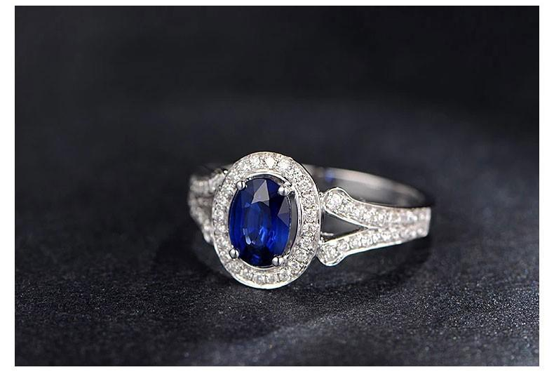 Vintage 2 Carat Blue Sapphire and Diamond Halo Engagement Ring