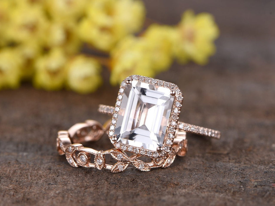 2 Carat Emerald Cut White Topaz and Diamond Art Deco Antique Flower Wedding Set in Rose Gold