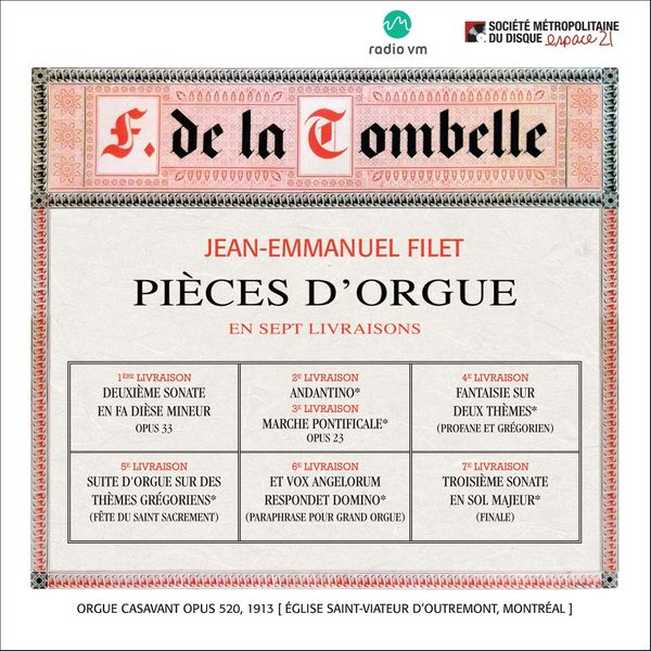 Jean-Emmanuel Filet / F. De La Tombelle : Pieces D'Orgue En Sept Livraison - CD