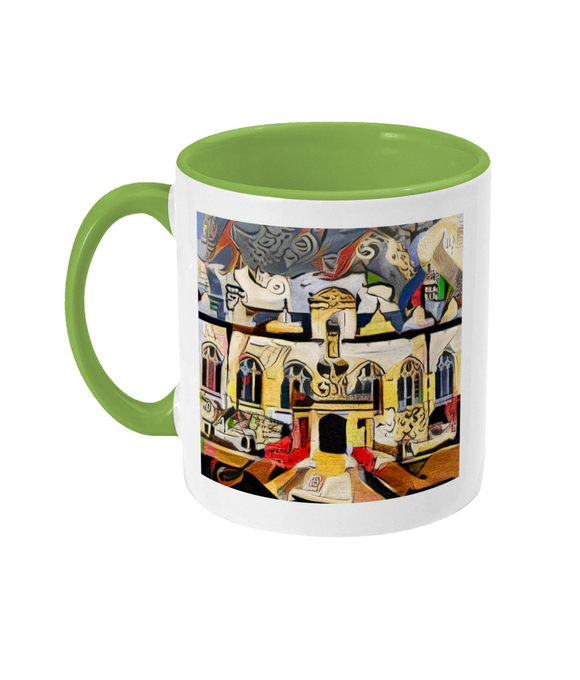 Oriel College Oxford coffee mug light green