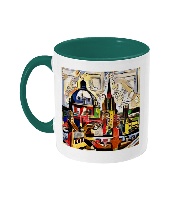 Oxford Spires mug with green handle