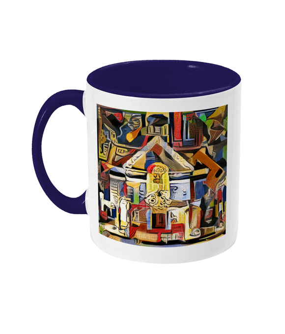 St Hugh's college Oxford mug blue