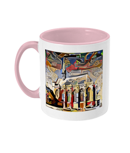 Exeter College Oxford mug with burgundy handle