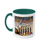 Exeter College Oxford mug with green handle