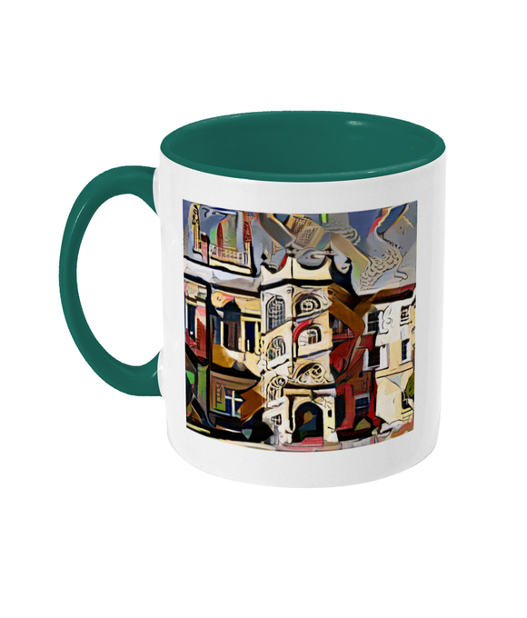 Hertford College Oxford mug with green handle