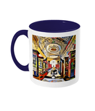 Queens college oxford library mug blue