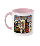 Hertford College Oxford mug with pink handle