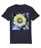Van Gogh Sunflower unisex navy organic cotton  t-shirt