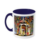 Queens college Oxford mug blue