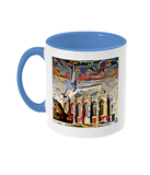 Exeter College Oxford mug with light blue handle